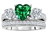 Star K™ 7mm Heart Shape Simulated Emerald Wedding Set style: 307065