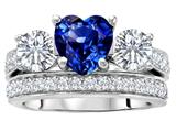Original Star K™ 7mm Heart Shape Created Sapphire Wedding Set style: 307068