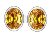 Star K™ 8x6mm Oval Simulated Citrine Earrings Studs style: 307072