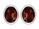 Star K™ 8x6mm Oval Simulated Garnet Earrings Studs style: 307073