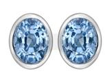 Star K™ 8x6mm Oval Simulated Aquamarine Earrings Studs style: 307074
