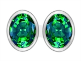 Star K™ 8x6mm Oval Simulated Emerald Earrings Studs style: 307076