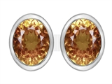 Star K™ 8x6mm Oval Simulated Imperial Yellow Topaz Earrings Studs style: 307084