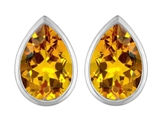 Star K™ 9x6mm Pear Shape Simulated Citrine Earrings Studs style: 307091