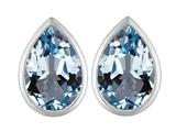 Star K™ 9x6mm Pear Shape Simulated Aquamarine Earrings Studs style: 307094
