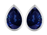 Star K™ 9x6mm Pear Shape Created Sapphire Earrings Studs style: 307101