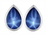 Original Star K™ 9x6mm Pear Shape Created Star Sapphire Earrings Studs style: 307105