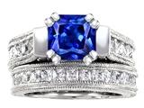 Original Star K™ 7mm Square Cut Created Sapphire Wedding Set style: 307111