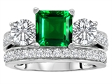 Star K™ 7mm Square Cut Simulated Emerald Wedding Set style: 307112