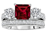 Star K™ 7mm Square Cut Created Ruby Wedding Set style: 307113