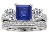 Star K™ 7mm Square Cut Created Sapphire Wedding Set style: 307115