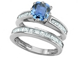 Star K™ Cushion Cut 7mm Simulated Aquamarine Wedding Set style: 307117