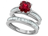 Star K™ Cushion Cut 7mm Created Ruby Wedding Set style: 307118
