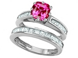 Star K™ Cushion Cut 7mm Created Pink Sapphire Wedding Set style: 307127
