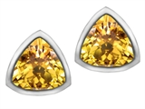 Star K™ 7mm Trillion Cut Simulated Citrine Earrings Studs style: 307151