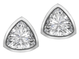 Star K™ 7mm Trillion Cut Genuine White Topaz Earrings Studs style: 307154