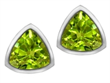 Star K™ 7mm Trillion Cut Simulated Peridot Earrings Studs style: 307155