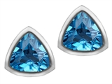 Star K™ 7mm Trillion Cut Simulated Blue Topaz Earrings Studs style: 307156