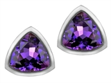 Star K™ 7mm Trillion Cut Simulated Amethyst Earrings Studs style: 307158