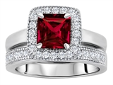 Star K™ 6mm Square Cut Created Ruby Wedding Set style: 307160