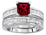 Star K™ 6mm Square Cut Created Ruby Wedding Set style: 307164