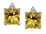Star K™ 7mm Square Cut Simulated Citrine Earrings Studs style: 307168