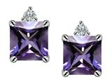 Star K™ 7mm Square Cut Simulated Alexandrite Earrings Studs style: 307170