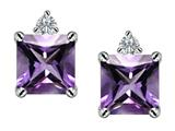 Star K™ 7mm Square Cut Simulated Amethyst Earrings Studs style: 307171