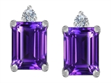 Star K™ 8x6mm Emerald Octagon Cut Simulated Amethyst Earrings Studs style: 307175