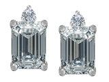 Star K™ 8x6mm Emerald Octagon Cut Genuine White Topaz Earrings Studs style: 307179