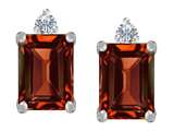 Star K™ 8x6mm Emerald Octagon Cut Simulated Garnet Earrings Studs style: 307180