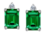 Star K™ 8x6mm Emerald Octagon Cut Simulated Emerald Earrings Studs style: 307182