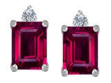 Star K™ 8x6mm Emerald Octagon Cut Created Ruby Earrings Studs style: 307185