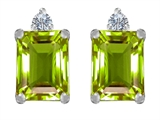 Star K™ 8x6mm Emerald Octagon Cut Simulated Peridot and Cubic Zirconia Earrings Studs style: 307187