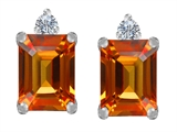 Star K™ 8x6mm Emerald Octagon Cut Simulated Orange Mexican Fire Opal Earrings Studs style: 307188