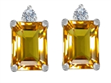 Star K™ 8x6mm Emerald Octagon Cut Simulated Citrine Earrings Studs style: 307189
