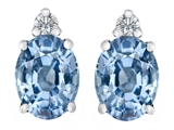 Star K™ 8x6mm Oval Simulated Aquamarine Earrings Studs style: 307198