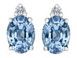 Star K™ 8x6mm Oval Simulated Aquamarine Earrings Studs style: 307198