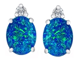 Star K™ 8x6mm Oval Blue Created Opal Earrings Studs style: 307199