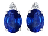 Star K™ 8x6mm Oval Created Sapphire Earrings Studs style: 307205