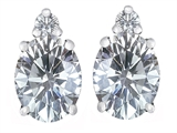 Star K™ 8x6mm Oval Genuine White Topaz Earrings Studs style: 307210