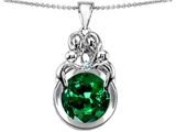 Star K™ Large Loving Mother And Family Pendant Necklace With Round 10mm Simulated Emerald style: 307217