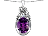 Star K™ Large Loving Mother Twin Family Pendant Necklace With Oval Simulated Amethyst 11x9mm style: 307223