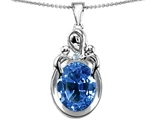 Star K™ Large Loving Mother With Twin Children Pendant Necklace With Oval 11x9mm Simulated Aquamarine style: 307225