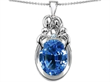 Star K™ Large Loving Mother Twin Family Pendant Necklace With 11x9mm Oval Simulated Aquamarine style: 307231