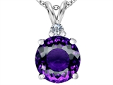 Star K™ Large 12mm Round Simulated Amethyst Pendant Necklace style: 307232