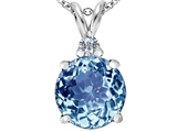 Star K™ Large 12mm Round Simulated Aquamarine Pendant Necklace style: 307233