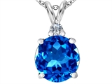 Star K™ Large 12mm Round Simulated Blue Topaz Pendant Necklace style: 307235