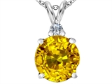 Star K™ Large 12mm Round Simulated Citrine Pendant Necklace style: 307236