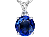 Original Star K™ Large 12mm Round Simulated Sapphire Pendant style: 307242